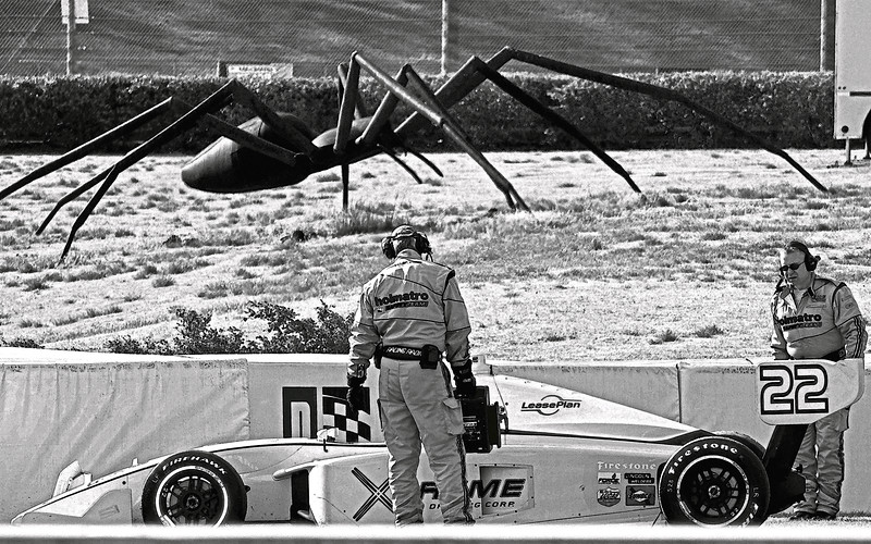 A Bill Secunda 35 foot Spider Threatens IndyCar Drivers at Barber Motorsports Park, Alabama