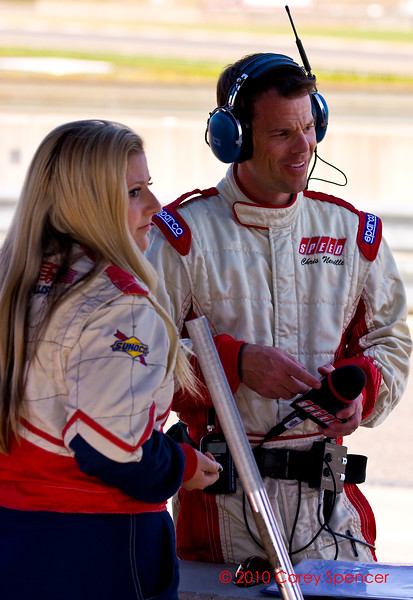 Speed Channel's Chris Neville and RSR's Sarah Cattaneo at Barber Motorsports Park Alabama