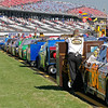 lined up on pit road before Talladega NASCAR race