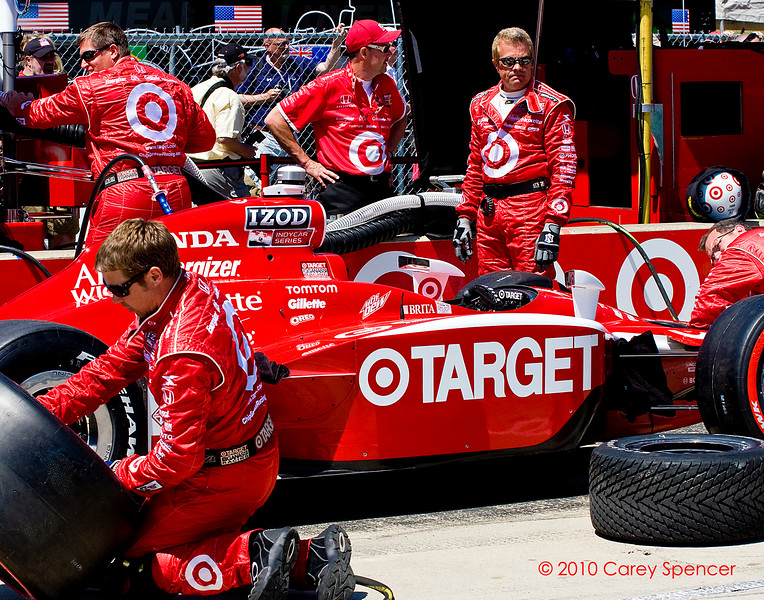 Scott Dixon Target Izod Indycar series crew prepares for Indy Grand Prix of Alabama at Barber Motorsports Park