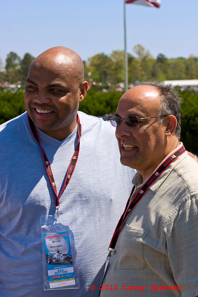 Grand Marshall Charles Barkley and Hoover Mayor Tony Petelos before start of Indy Grand Prix of Alabama