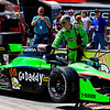 GoDaddy car being prepared for Grand Prix of Alabama at Barbebr Motorsports Park