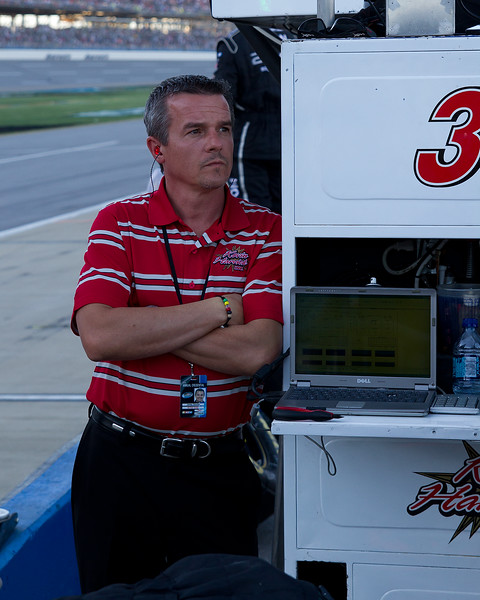 Anxiously watching as the Mountain Dew 250 winds down to its final laps.