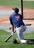 Boston Red Sox J.D. Drew awaits batting practice.