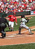 Cincinnati Reds Joey Votto is thrown out at home.