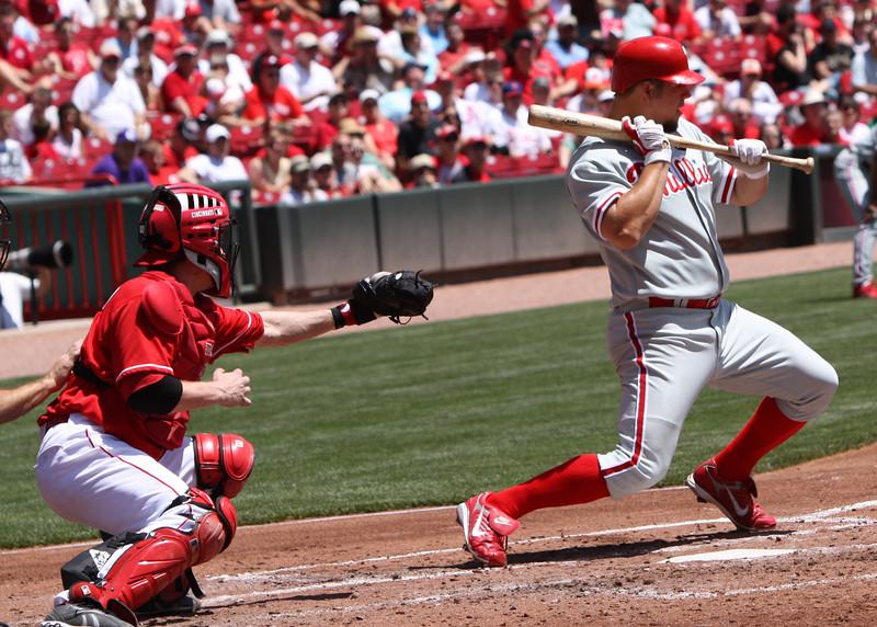 Phillies pitcher Joe Blanton is brushed back by Micah Owings.