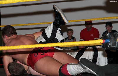 Julian Starr pins Scotty Slade at the NWA On Fire pro wrestling event held on September 19, 2010 at the Mexico Recreation Center in Mexico, Maine.