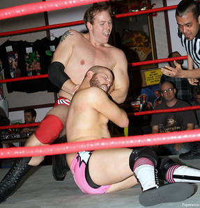 Andy McKenzie vs. Buddy Romano during the tag team match at Lucky Pro Wrestling's Fall Frenzy show held on October 12, 2013 in Clinton, Massachusetts.