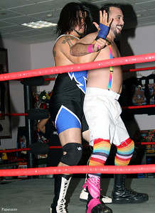 Vern Vicallo vs. Mike Paiva during the tag team match at Lucky Pro Wrestling's Fall Frenzy show held on October 12, 2013 in Clinton, Massachusetts.
