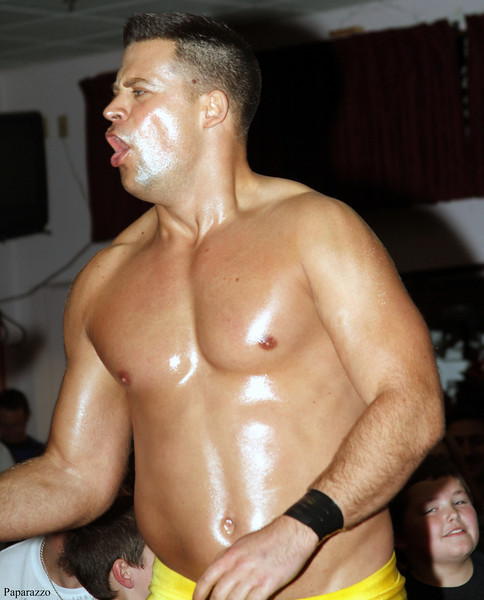 """The Sure Thing"" Mark Shurman makes his entrance at Lucky Pro Wrestling's Fall Frenzy show held on October 12, 2013 in Clinton, Massachusetts."