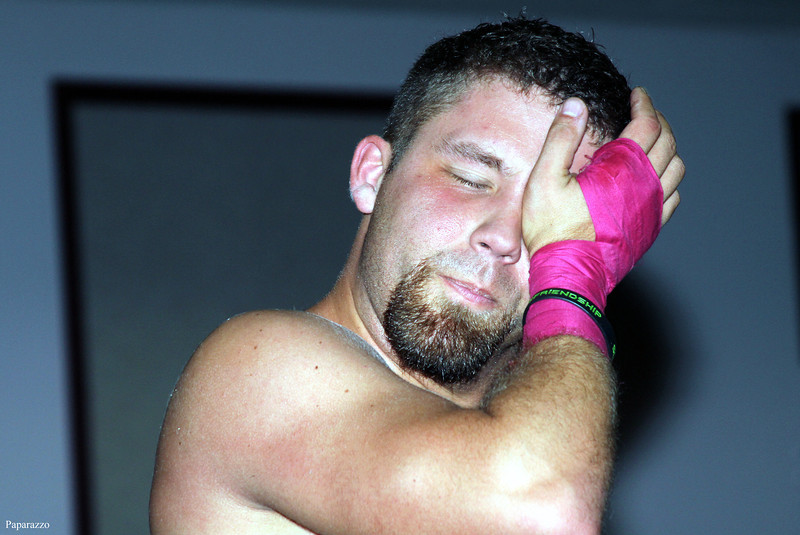 """""""That Guy"""" Scotty Slade after the tag team event at Lucky Pro Wrestling's Fall Frenzy show held on October 12, 2013 in Clinton, Massachusetts."""