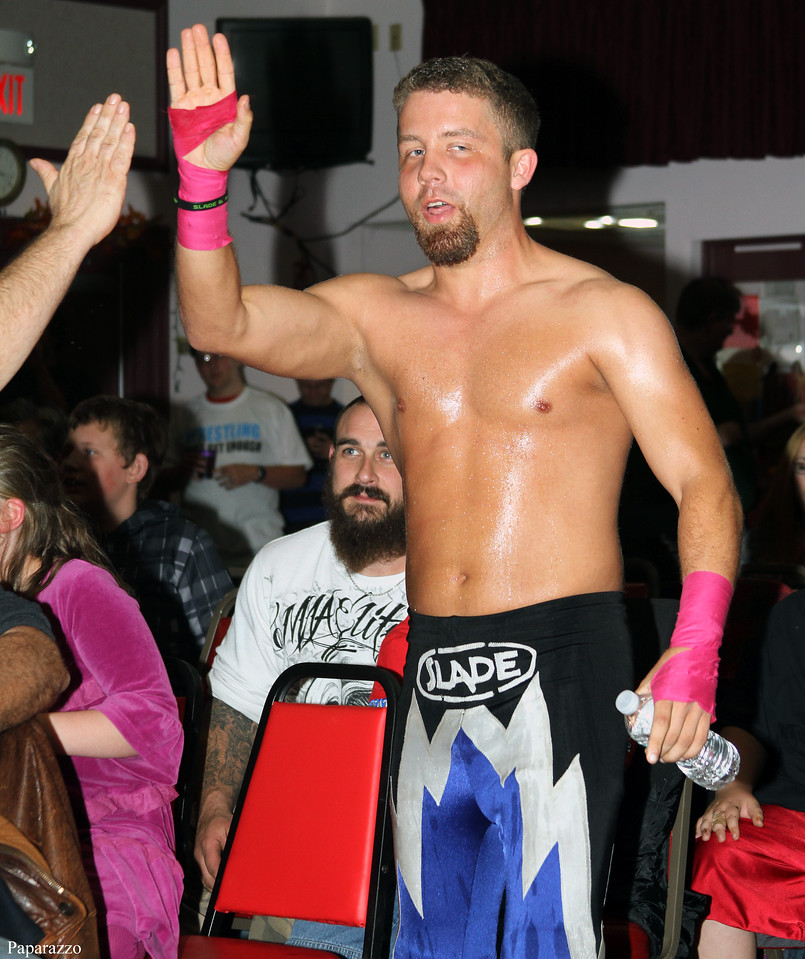 """""""That Guy"""" Scotty Slade makes his entrance at Lucky Pro Wrestling's Fall Frenzy show held on October 12, 2013 in Clinton, Massachusetts."""