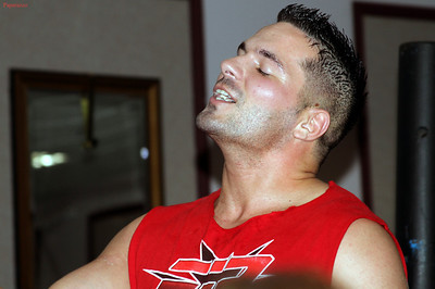 """Jason Blade prior to his match against Nick """"Bloodstone"""" Amaral (now known as Anthony Stone) at Lucky 13 Wrestling's """"Summer Heat"""" show held on July 26, 2013 in Clinton, Massachusetts."""