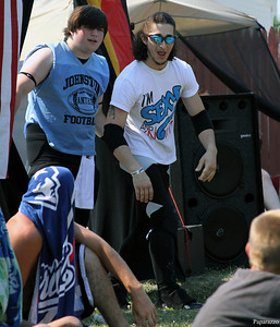 Nick Varsity and T.J. Swift make their entrance at the Renegade Wrestling Alliance (RWA) Summertime Showdown event held on July 14, 2012 at the Stateline Campground in East Killingly, Connecticut.