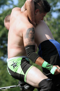 "Teen pro wrestler ""Mr. Awesome"" Mike Graca vs.Damian Black during the Renegade Wrestling Alliance (RWA) Summertime Showdown event held on July 14, 2012 at the Stateline Campground in East Killingly, Connecticut."