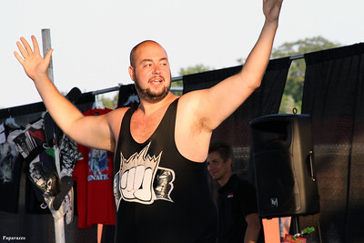 """The Barrington Bulldozer"" John Munroe makes his entrance during the Top Rope Promotions (TRP) Wrestling show held on June 29, 2012 at the Brockton Fair in Brockton, Massachusetts."
