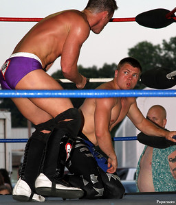 Cameron Matthews vs. Mike Bradley during the Top Rope Promotions (TRP) Wrestling show held on June 29, 2012 at the Brockton Fair in Brockton, Massachusetts