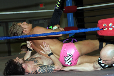 Tyler Nitro gets a two-count on Lucain Caiker during the MFW Wrestling Cruiserweight Championship match on April 25, 2015 at Jamestown Community College in Jamestown, New York.