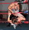 "The Young Bucks' Nick Jackson retaliates on Julian Starr at the XWA Wrestling ""Retribution"" show held on June 27, 2015 in Cranston, Rhode Island."