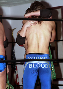"""Adrenaline Rush congratulates The Aristocrats after winning the LPW Tag Team Championship at Lucky Pro Wrestling's """"Homecoming"""" event held on February 24, 2017 at the Elks Lodge Outdoor Pavilion in Hudson, Massachusetts."""