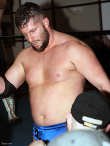 """Daniel Evans of Adrenaline Rush after the LPW Tag Team Championship match at Lucky Pro Wrestling's """"Homecoming"""" event held on February 24, 2017 at the Elks Lodge Outdoor Pavilion in Hudson, Massachusetts."""