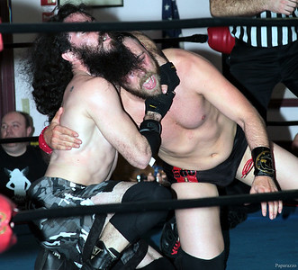 """The """"Three-Way Dance"""" featuring Vern Vicallo vs. Colin Delaney vs. Anthony Stone at Lucky Pro Wrestling's """"Homecoming"""" event held on February 24, 2017 at the Elks Lodge Outdoor Pavilion in Hudson, Massachusetts."""