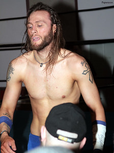 """Keith Youngblood of Adrenaline Rush after the LPW Tag Team Championship match at Lucky Pro Wrestling's """"Homecoming"""" event held on February 24, 2017 at the Elks Lodge Outdoor Pavilion in Hudson, Massachusetts."""