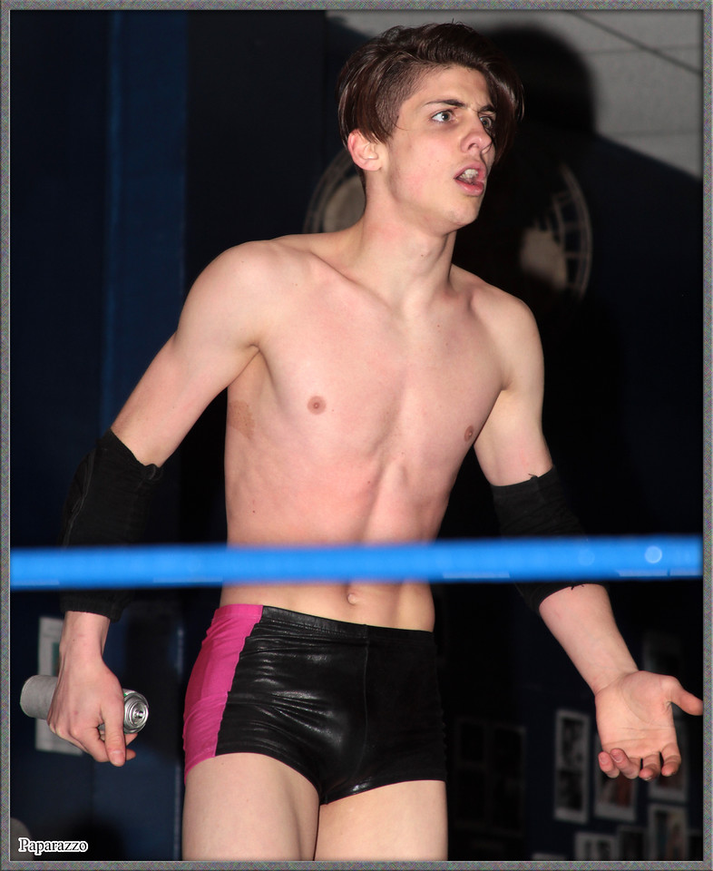 """The Prize"" Alec Price admonished by the referee during his match against ""Diabolical"" Scott Le Deur at the Showcase Pro Wrestling (aka SPW Wrestling) ""Spring Legacy Tour"" event held on April 6, 2018 at the SPW Arena in Woonsocket, Rhode Island."