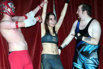 "Rickety Rocket, Kennedi Copeland, and Damon Ravage after the Six Person Tag Team Match during the Truly Independent Wrestling (aka TIW Wrestling) ""Snow Brawl"" event held on January 28, 2017 at the Pilgrim Memorial Church and Parish House in Pittsfield, Massachusetts."
