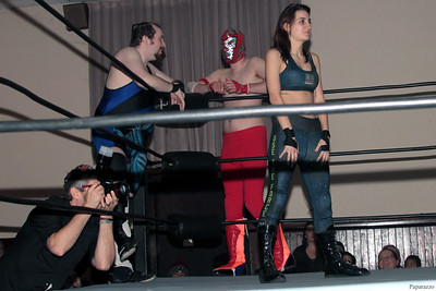 "Damon Ravage, Rickety Rocket, and Kennedi Copeland prior to the Six Person Tag Team Match during the Truly Independent Wrestling (aka TIW Wrestling) ""Snow Brawl"" event held on January 28, 2017 at the Pilgrim Memorial Church and Parish House in Pittsfield, Massachusetts."