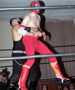 "Benjamin Blackwell vs. Rickety Rocket during the Six Person Tag Team Match at the Truly Independent Wrestling (aka TIW Wrestling) ""Snow Brawl"" event held on January 28, 2017 at the Pilgrim Memorial Church and Parish House in Pittsfield, Massachusetts."