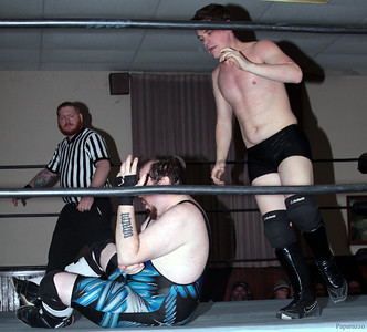 "Scotty Aero vs. Damon Ravage during the Six Person Tag Team Match at the Truly Independent Wrestling (aka TIW Wrestling) ""Snow Brawl"" event held on January 28, 2017 at the Pilgrim Memorial Church and Parish House in Pittsfield, Massachusetts."