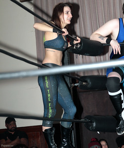 "Kennedi Copeland during the Six Person Tag Team Match at the Truly Independent Wrestling (aka TIW Wrestling) ""Snow Brawl"" event held on January 28, 2017 at the Pilgrim Memorial Church and Parish House in Pittsfield, Massachusetts."