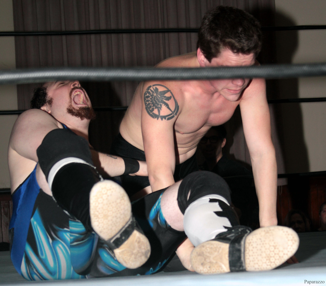 """Scotty Aero vs. Damon Ravage during the Six Person Tag Team Match at the Truly Independent Wrestling (aka TIW Wrestling) """"Snow Brawl"""" event held on January 28, 2017 at the Pilgrim Memorial Church and Parish House in Pittsfield, Massachusetts."""