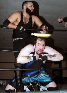 "Benjamin Blackwell vs. Damon Ravage during the Six Person Tag Team Match at the Truly Independent Wrestling (aka TIW Wrestling) ""Snow Brawl"" event held on January 28, 2017 at the Pilgrim Memorial Church and Parish House in Pittsfield, Massachusetts."