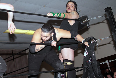 "Benjamin Blackwell and Roman Dominguez prior to the Six Person Tag Team Match during the Truly Independent Wrestling (aka TIW Wrestling) ""Snow Brawl"" event held on January 28, 2017 at the Pilgrim Memorial Church and Parish House in Pittsfield, Massachusetts."