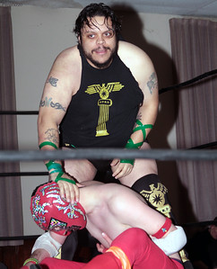 "Roman Dominguez vs. Rickety Rocket during the Six Person Tag Team Match at the Truly Independent Wrestling (aka TIW Wrestling) ""Snow Brawl"" event held on January 28, 2017 at the Pilgrim Memorial Church and Parish House in Pittsfield, Massachusetts."
