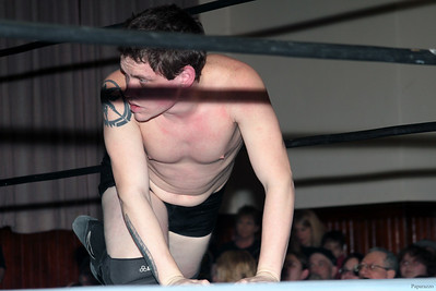 "Scotty Aero after the Six Person Tag Team Match during the Truly Independent Wrestling (aka TIW Wrestling) ""Snow Brawl"" event held on January 28, 2017 at the Pilgrim Memorial Church and Parish House in Pittsfield, Massachusetts."