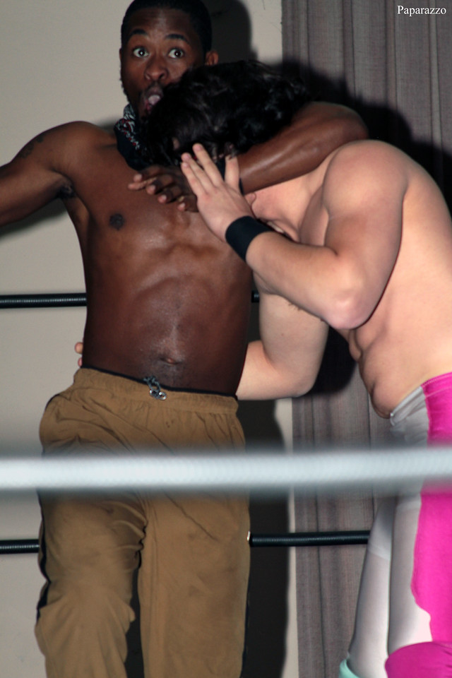 """RJ Rude of InZanely Rude during their tag team match against The Street at the Truly Independent Wrestling (aka TIW Wrestling) """"Snow Brawl"""" event held on January 28, 2017 at the Pilgrim Memorial Church and Parish House in Pittsfield, Massachusetts."""