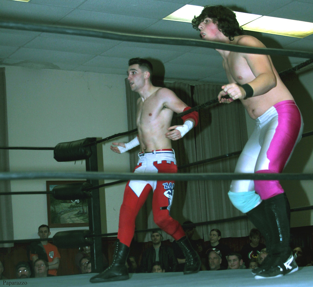 "InZanely Rude (Zane Bernardo & RJ Rude) vs. The Street at the Truly Independent Wrestling (aka TIW Wrestling) ""Snow Brawl"" event held on January 28, 2017 at the Pilgrim Memorial Church and Parish House in Pittsfield, Massachusetts."
