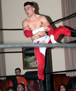 """Zane Bernardo of InZanely Rude during their tag team match against The Street at the Truly Independent Wrestling (aka TIW Wrestling) """"Snow Brawl"""" event held on January 28, 2017 at the Pilgrim Memorial Church and Parish House in Pittsfield, Massachusetts."""