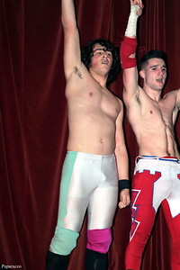 "InZanely Rude (Zane Bernardo & RJ Rude) after their victory over The Street at the Truly Independent Wrestling (aka TIW Wrestling) ""Snow Brawl"" event held on January 28, 2017 at the Pilgrim Memorial Church and Parish House in Pittsfield, Massachusetts."