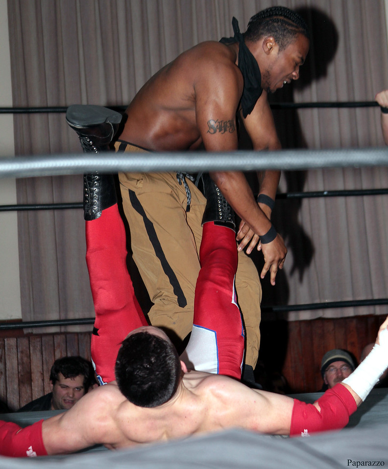 "Zane Bernardo of InZanely Rude during their tag team match against The Street at the Truly Independent Wrestling (aka TIW Wrestling) ""Snow Brawl"" event held on January 28, 2017 at the Pilgrim Memorial Church and Parish House in Pittsfield, Massachusetts."