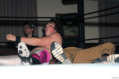 "RJ Rude of InZanely Rude during their tag team match against The Street at the Truly Independent Wrestling (aka TIW Wrestling) ""Snow Brawl"" event held on January 28, 2017 at the Pilgrim Memorial Church and Parish House in Pittsfield, Massachusetts."