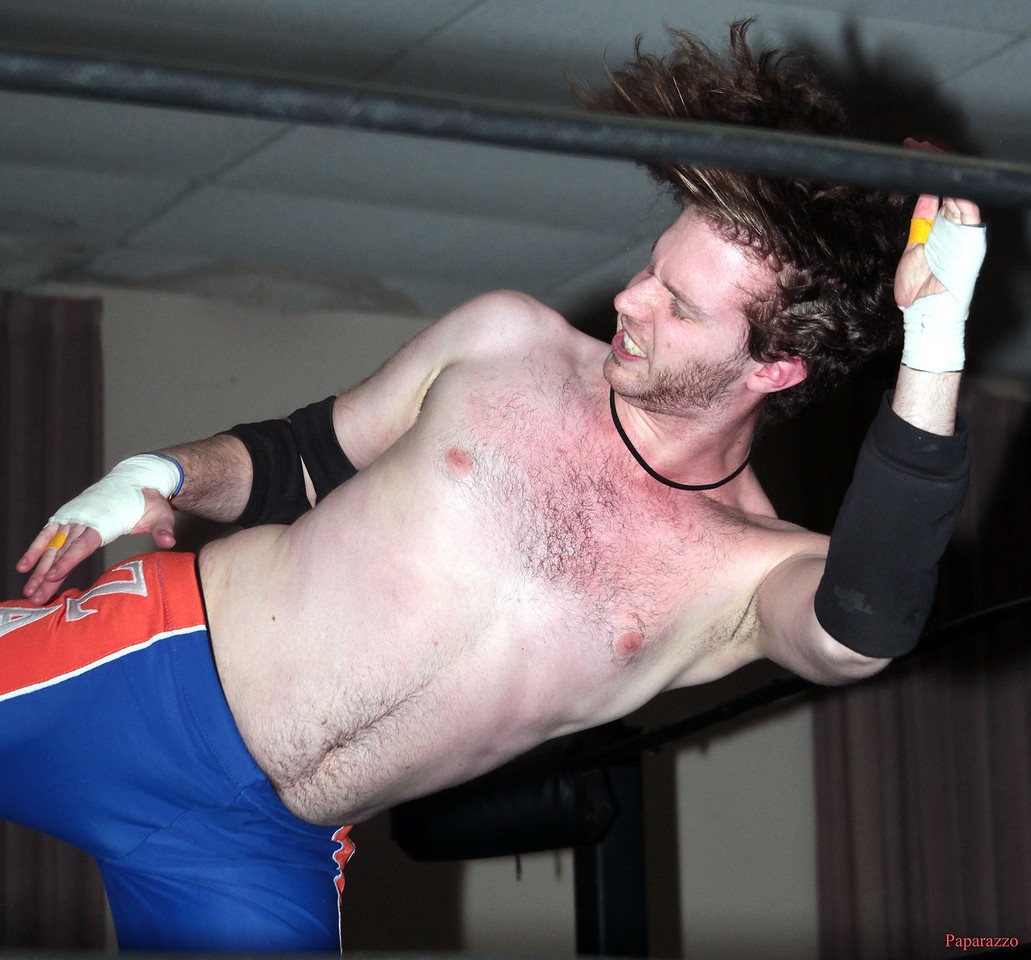 """Zane Wolf during his match against Ivan Ali at the Truly Independent Wrestling (aka TIW Wrestling) """"Snow Brawl"""" event held on January 28, 2017 at the Pilgrim Memorial Church and Parish House in Pittsfield, Massachusetts."""
