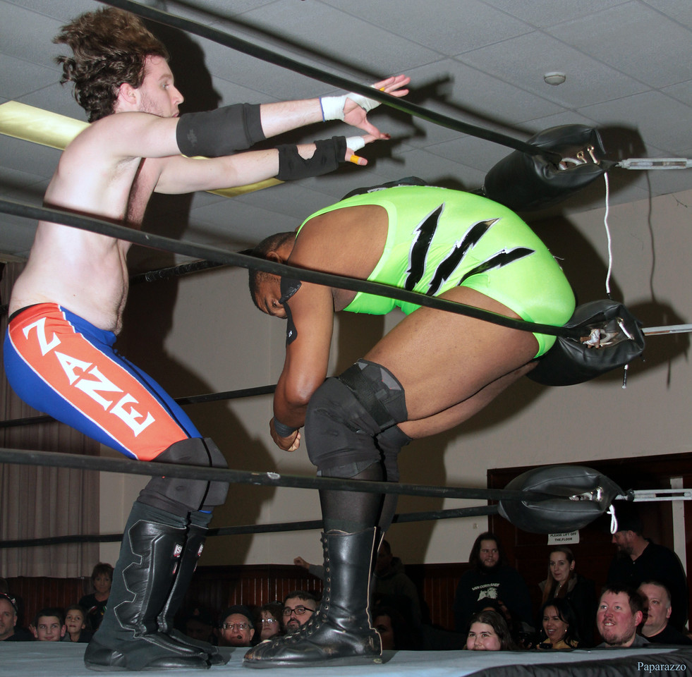 """Zane Wolf vs. Ivan Ali at the Truly Independent Wrestling (aka TIW Wrestling) """"Snow Brawl"""" event held on January 28, 2017 at the Pilgrim Memorial Church and Parish House in Pittsfield, Massachusetts."""