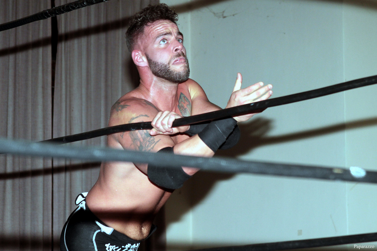 """Tyler Vincent during his match against C.J. Scott at the Truly Independent Wrestling (aka TIW Wrestling) """"Snow Brawl"""" event held on January 28, 2017 at the Pilgrim Memorial Church and Parish House in Pittsfield, Massachusetts."""