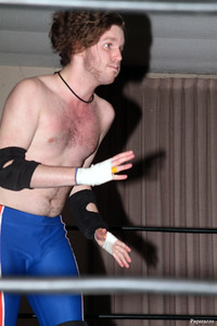 "Zane Wolf during his match against Ivan Ali at the Truly Independent Wrestling (aka TIW Wrestling) ""Snow Brawl"" event held on January 28, 2017 at the Pilgrim Memorial Church and Parish House in Pittsfield, Massachusetts."