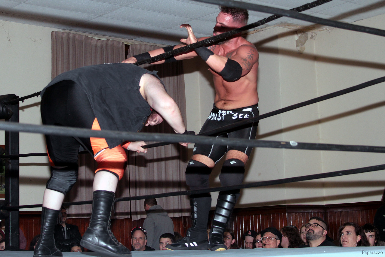 "Tyler Vincent vs. C.J. Scott at the Truly Independent Wrestling (aka TIW Wrestling) ""Snow Brawl"" event held on January 28, 2017 at the Pilgrim Memorial Church and Parish House in Pittsfield, Massachusetts."