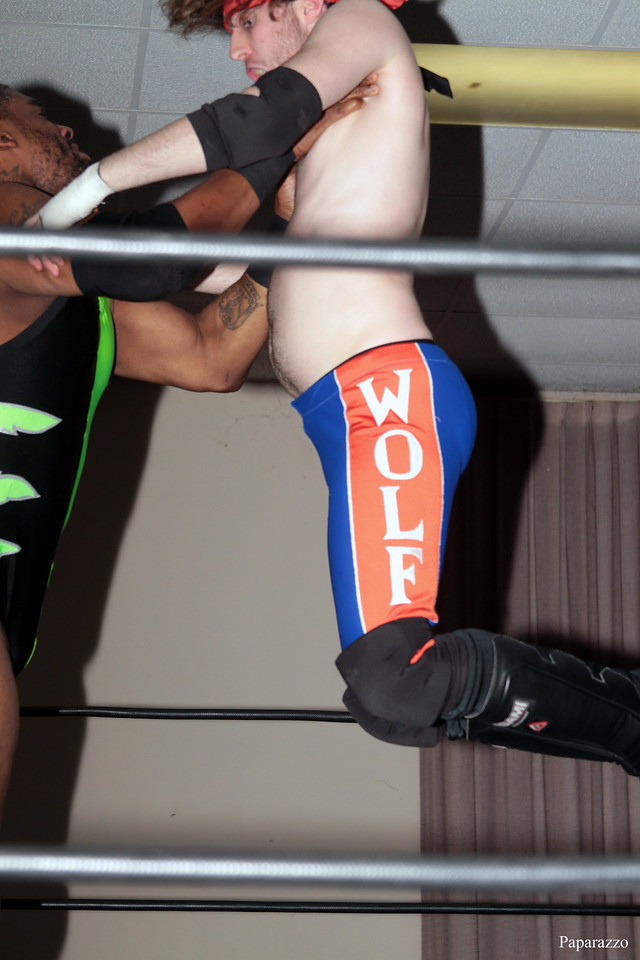 "Zane Wolf vs. Ivan Ali at the Truly Independent Wrestling (aka TIW Wrestling) ""Snow Brawl"" event held on January 28, 2017 at the Pilgrim Memorial Church and Parish House in Pittsfield, Massachusetts."